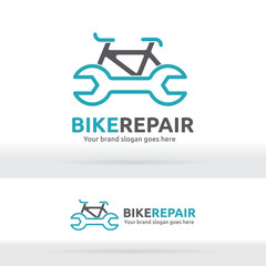 Bicycle and Wrench Symbol for Brand Identity, Bicycle Fix Logo Template