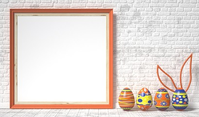 Easter eggs painted and blank picture frame. Easter concept. 3D render illustration