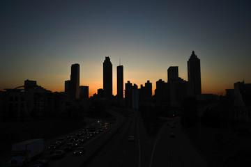 Atlanta skyline silhouette at dusk