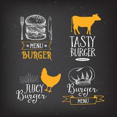 Burger menu restaurant badges. Fast food design template.