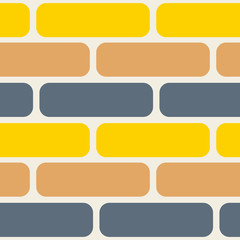 Color bricks seamless vector pattern. Grey, yellow and orange brick wall wallpaper background.