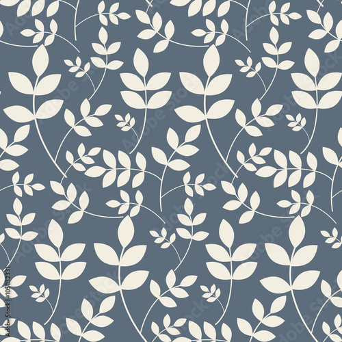 u0026quot leaves branches floral seamless beige and blue vector