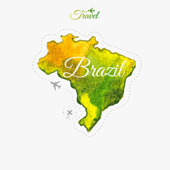 Travel around the  world. Brazil. Watercolor map