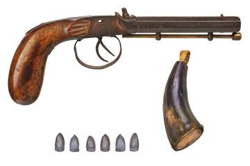 Handgun with bullets and gun powder