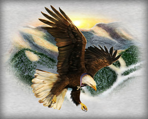 A digital painting of a Bald Eagle diving with a cross around its neck.