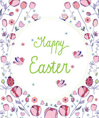 vector floral background with Tulip print flowers and branches with birds butterflies and the caption happy Easter on white background , greetings