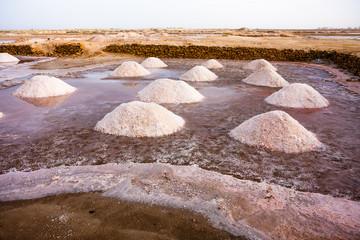 Salt mining mounds in Cape Verde, Africa