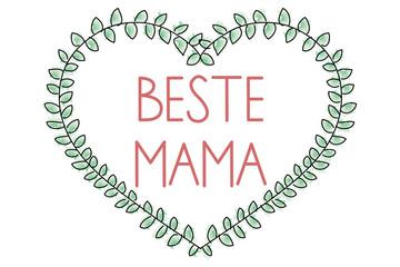 Beste Mama - Herz aus Blättern