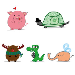 Cartoon animals, funny animals