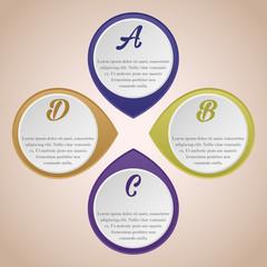 infografica quattro cerchi viola arancione
