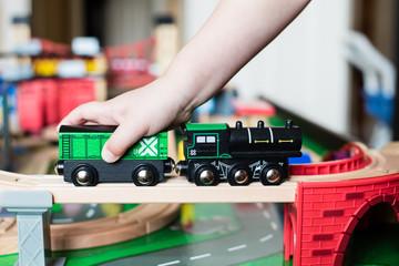 Wooden toy train fun
