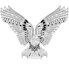 Zentangle stylized cartoon eagle, isolated on white background. Sketch for adult antistress coloring page. Hand drawn doodle, zentangle, floral design elements for coloring book.
