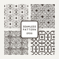 Set of vector seamless patterns in the style of mosaics and tiles
