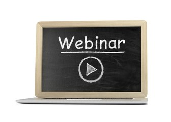 Laptop with chalkboard, video webinar, online education concept