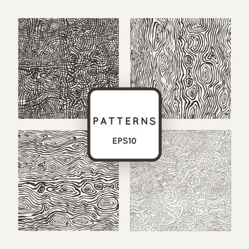 Set of vector patterns with grungy hand-drawn wood textures