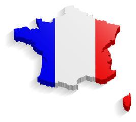 Frankreich Land Karte 3D Design mit Flagge