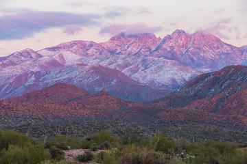Snow covered peaks outside Phoenix, Arizona