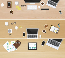Realistic workplace organization. Set of three banners. Top view of different work desks with textured wooden table, laptop, smartphone, tablet pc, diary, glasses, and coffee mug