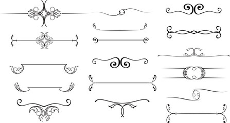 Collection of hand drawn vintage frames for text decoration in vector