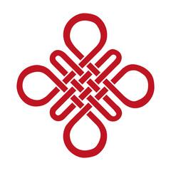 Auspicious Endless knot.Buddhist symbol.Red