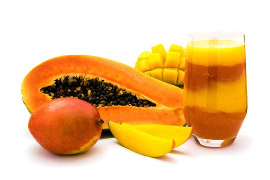 Mango Papaya fruit smoothie isolated on white background