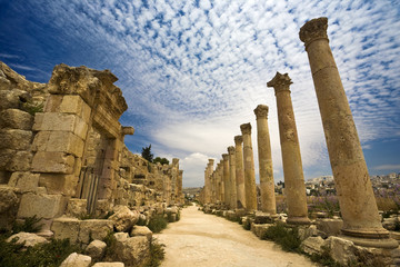 Jordan. Jerash (the Roman ancient city of Geraza). The Cardo Maximus (the Colonnaded Street)