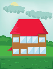Two Floor House with Red Roof. Tourist Cottage in the Forest. Countryside View. Cloudy Sky and Green Hills Landscape. Kids Book vector illustration. Digital background.