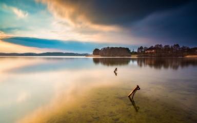 Long exposure lake landscape