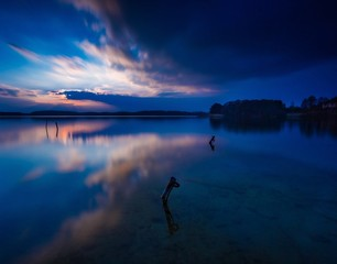 Long exposure lake landscape