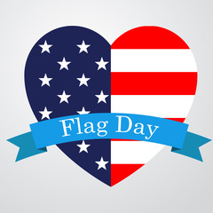 Icono plano Flag Day en corazon bandera USA #1