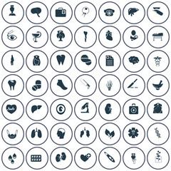 Set of forty nine medicine icons