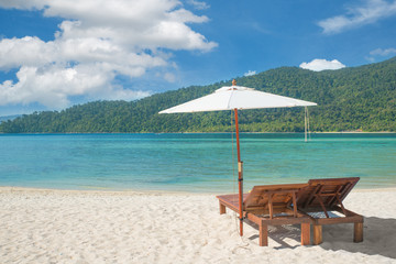Summer, Travel, Vacation and Holiday concept - Beach Chairs and