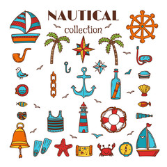Hand drawn nautical collection. Sea and ocean. Marine icon set.
