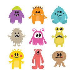 Set of cartoon funny smiley monsters. Collection of different mo