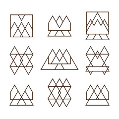 Set of geometric shapes triangles, squares and lines for your de