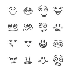 Set of hand drawn funny faces. Happy faces. Different emotions.