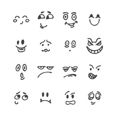 Set of hand drawn funny faces. Happy faces. Sketched facial expr