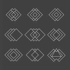 Set of trendy geometric shapes. Ethnic tattoo. Hipster logotypes