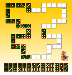Logic puzzle. Draw the remaining dominoes at the correct places to close the circuit. Vector image.