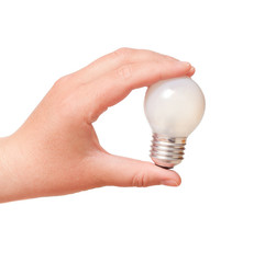 electric lamp in his hand on a white background