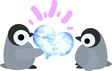 Pretty baby penguins and a jewel of heart