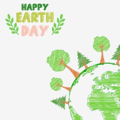 Earth day and the environment with shape paintings
