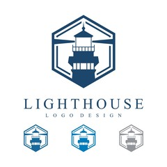 Lighthouse Hexagon Design Logo