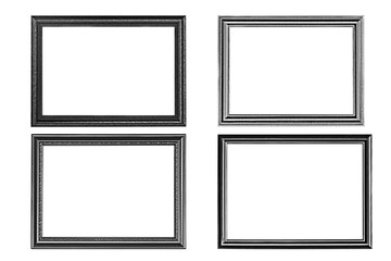 Four old wooden frames isolated on white background