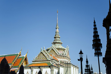 Thai Architecture at Wat Phra Kaew, with ceramic roof, Grand Palace, Bangkok, Thailand