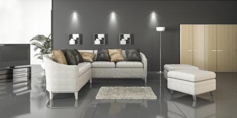 3d rendering L shape sofa in loft living room