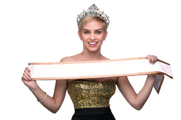 Lady miss pageant winner crowned with sash holding up blank card cute fun happy beauty