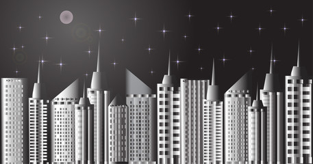 открытка небоскребы на фоне луны и ночного города