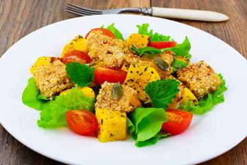 Pumpkin Salad, Suluguni Fried in Sesame, Cherry