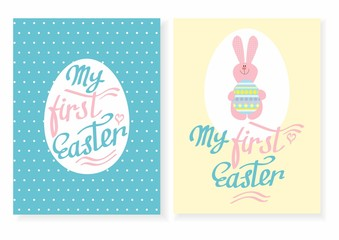 Greeting card with the inscription - my first Easter. Easter rabbit with egg. Template Easter greeting card